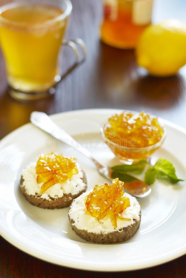 Sandwich With Cheese And Citrus Jam Stock Images