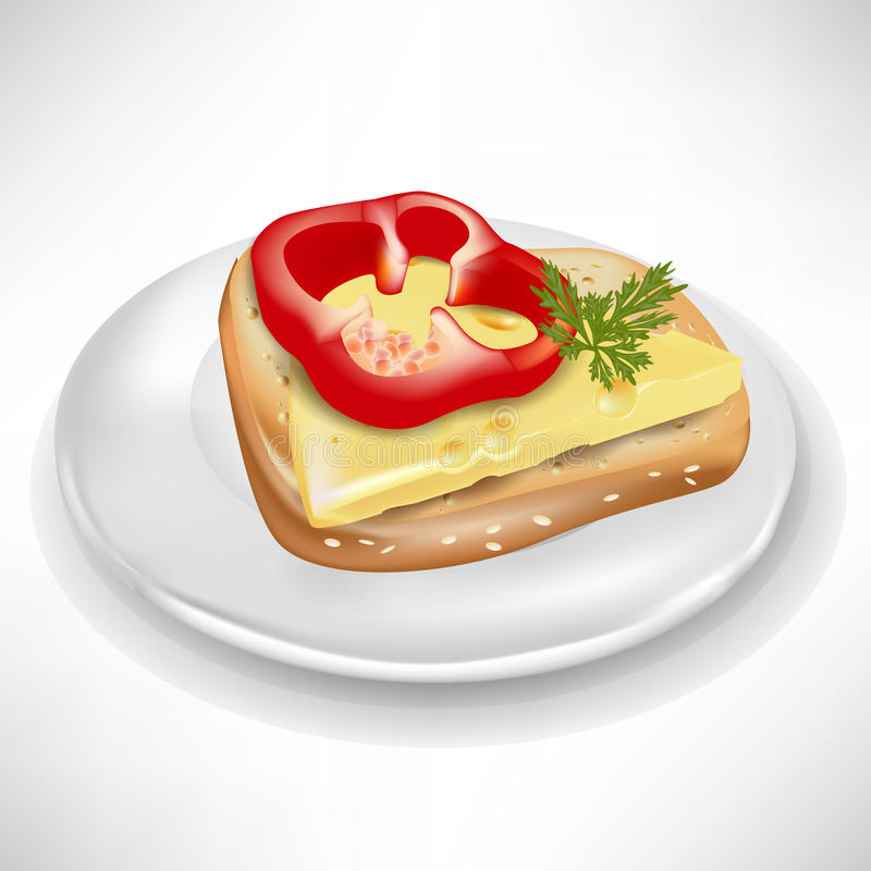 Sandwich with cheese on plate stock illustration