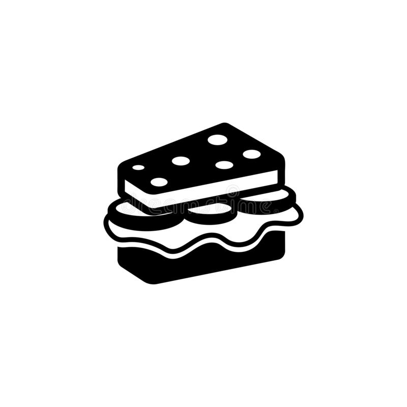 Sandwich with Cheese and Sausage Flat Vector Icon vector illustration