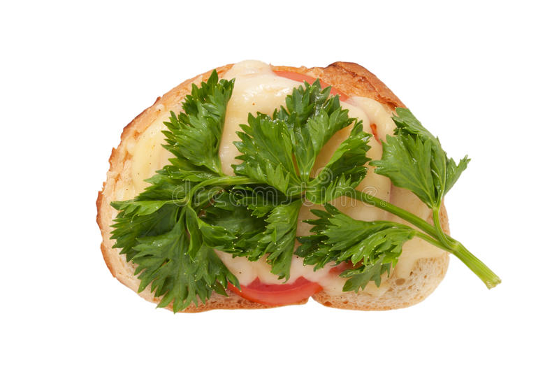Download Sandwich With Cheese, A Tomato And Parsley Stock Image - Image: 21037277
