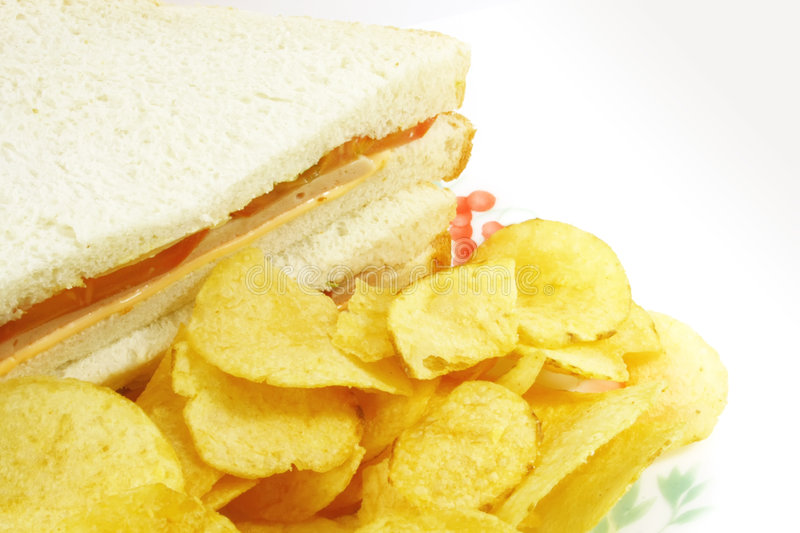 Sandwich and Chips Meal Combo. On a White Background stock image