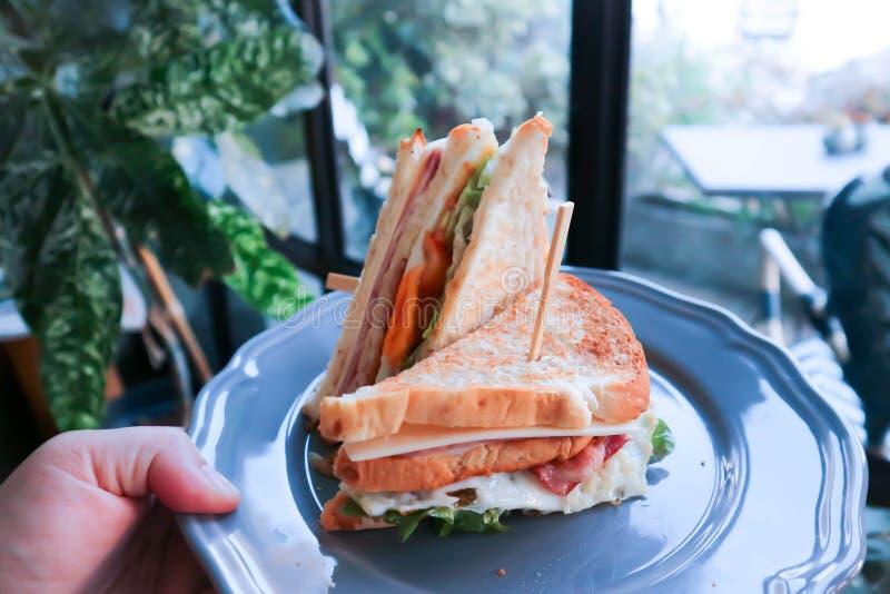 Sandwich, club sandwich or ham sandwich stock photo