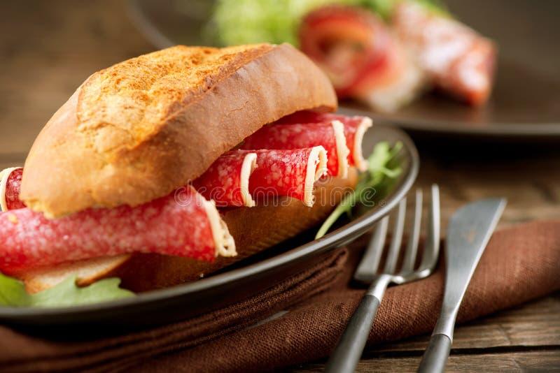 Sandwich con salame fotografia stock