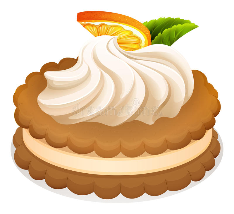 Sandwich cookie with cream and orange vector illustration