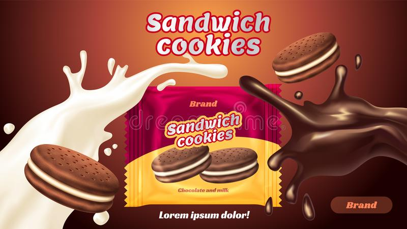 Sandwich cookies ads, milk chocolate flavor with tasty liquid twisted in the air and package vector illustration