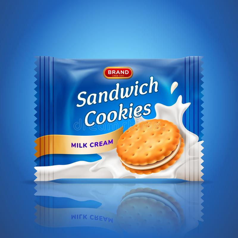 Sandwich cookies or cracker package design. Easy used template on blue background. Food and sweets, baking and stock illustration