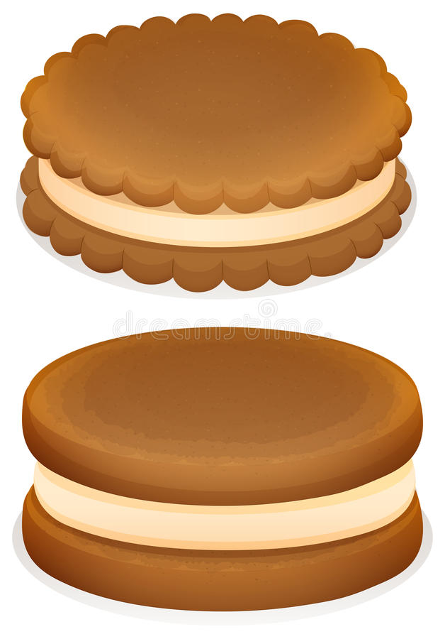 Sandwich cookies with cream stock illustration