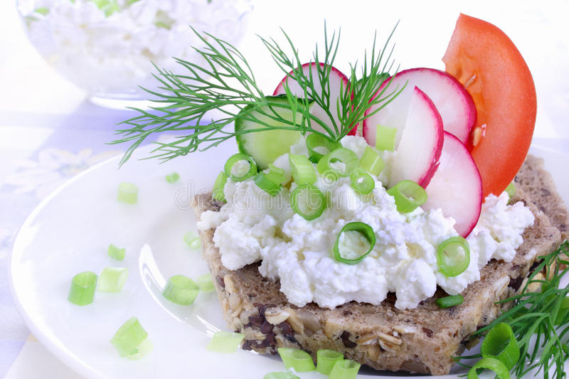 Sandwich with cottage cheese stock images