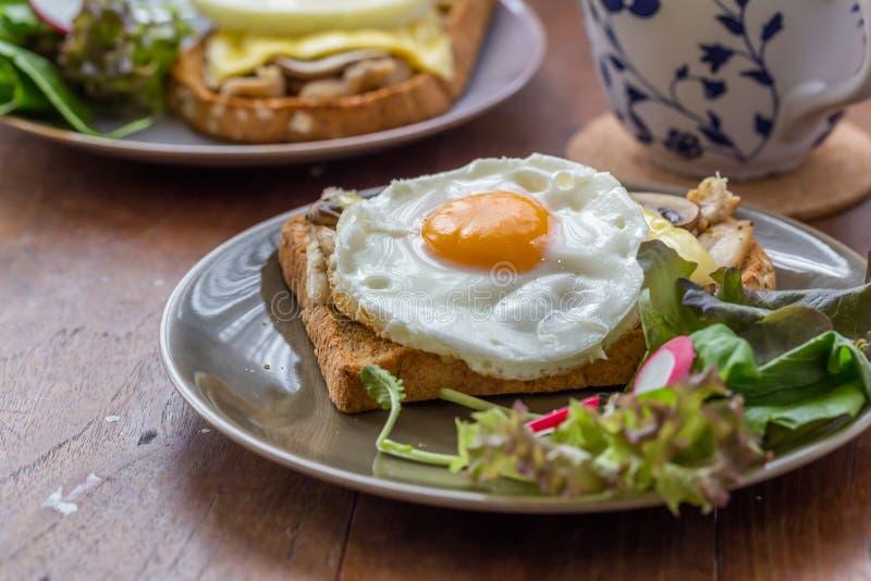 Sandwich dans le plat blanc sur la table en bois images libres de droits
