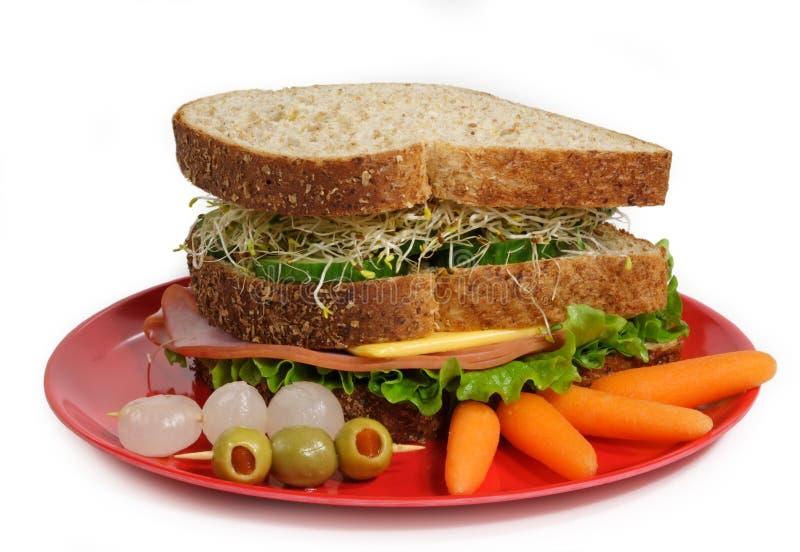 Sandwich de plaque rouge photographie stock