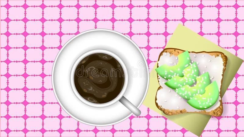 Sandwich des schwarzen Kaffees und der Avocado stock abbildung