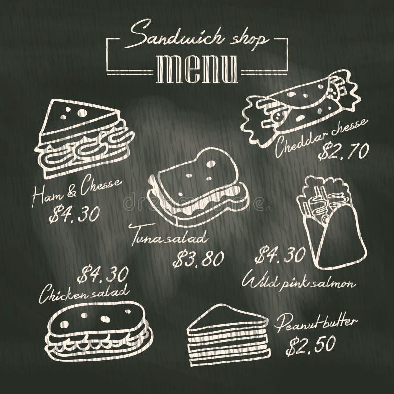 Sandwich doodle menu drawing on chalk board background stock illustration