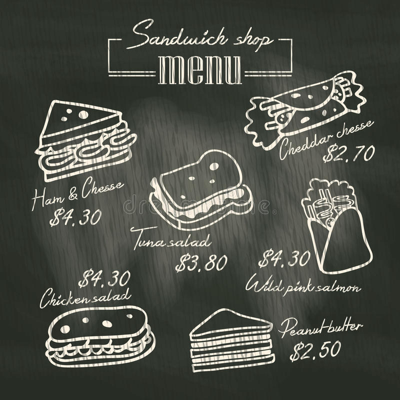 Free Sandwich Doodle Menu Drawing On Chalk Board Background Stock Image - 43007401