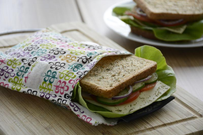 Healthy sandwich in a eco-friendly durable reusable sandwich bag stock image