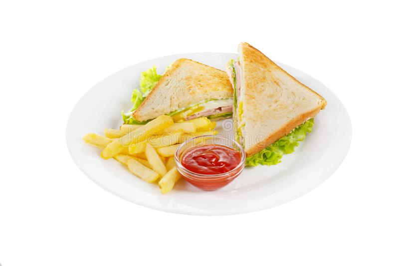 Sandwich with eggs, French fries isolated white stock image