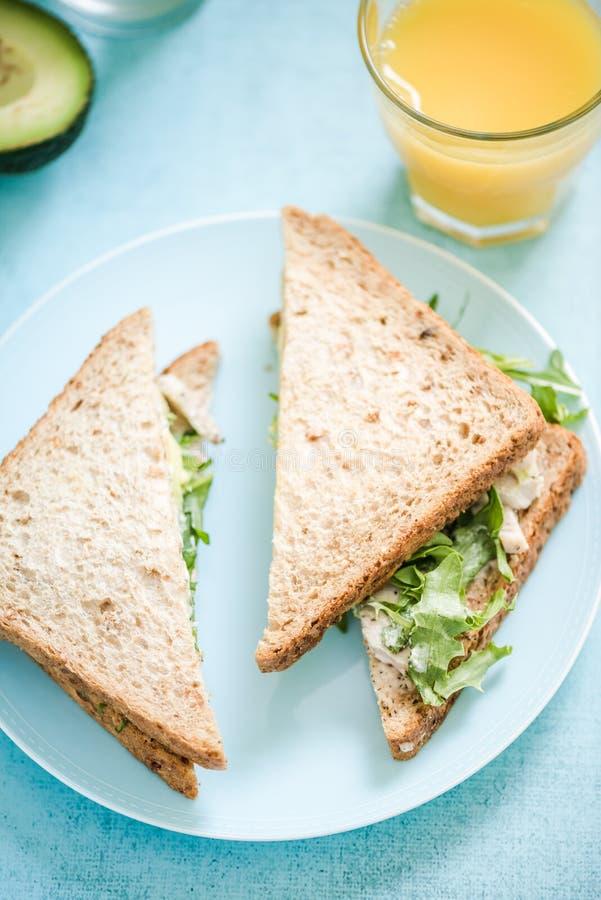 Sandwich entier à pain de poulet et d'avocat image stock