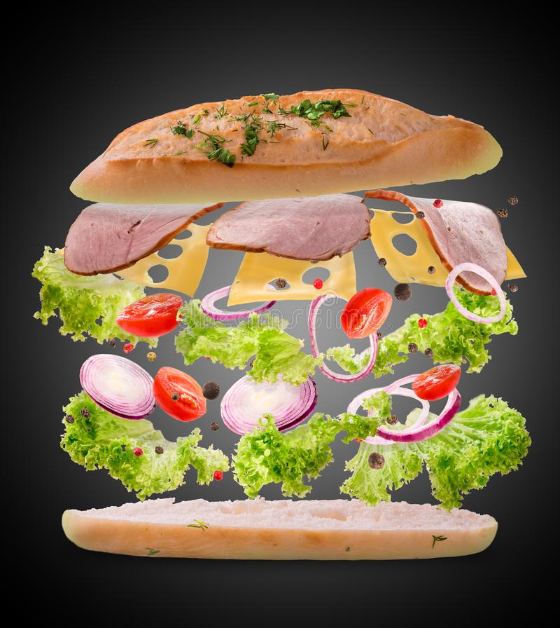 Sandwich with flying ingredients. Freeze motion. Close-up. Black background. stock image