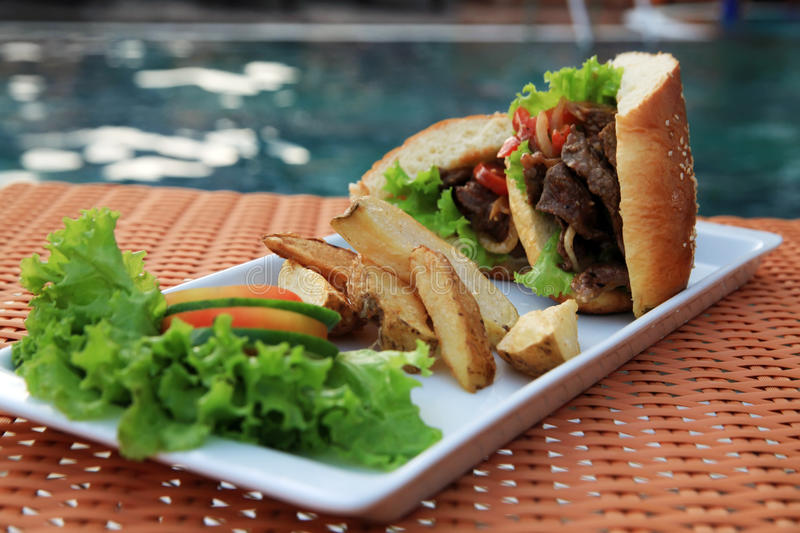 Download Sandwich Food At Swimming Pool Outdoor Stock Image - Image: 21051003