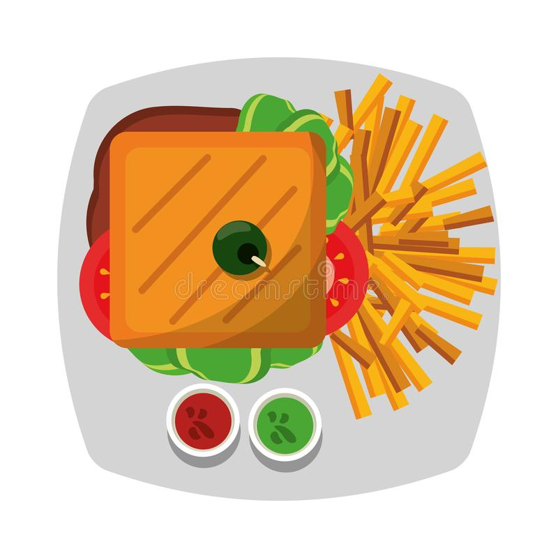 Sandwich and french fries with sauces on dish vector illustration