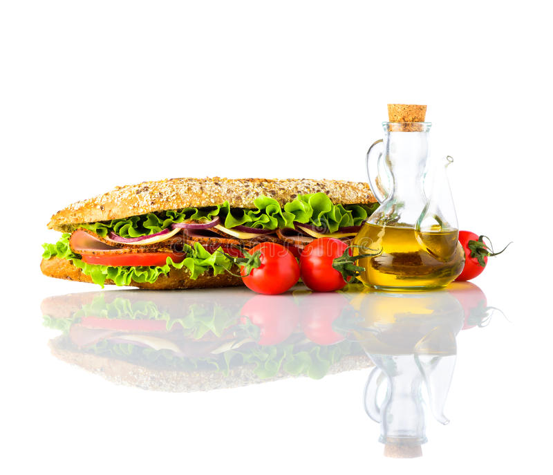 Sandwich with Fresh Vegetables Isolated on White Background stock image