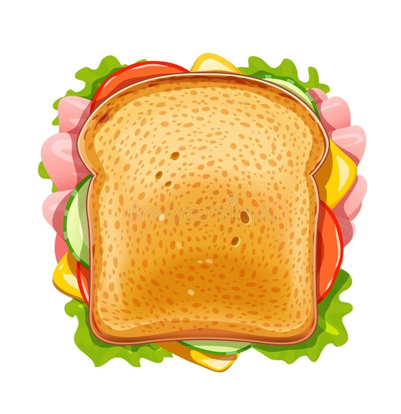 Sandwich Gebraden brood met komkommer, bacon, tomaat, kaas, sla royalty-vrije illustratie