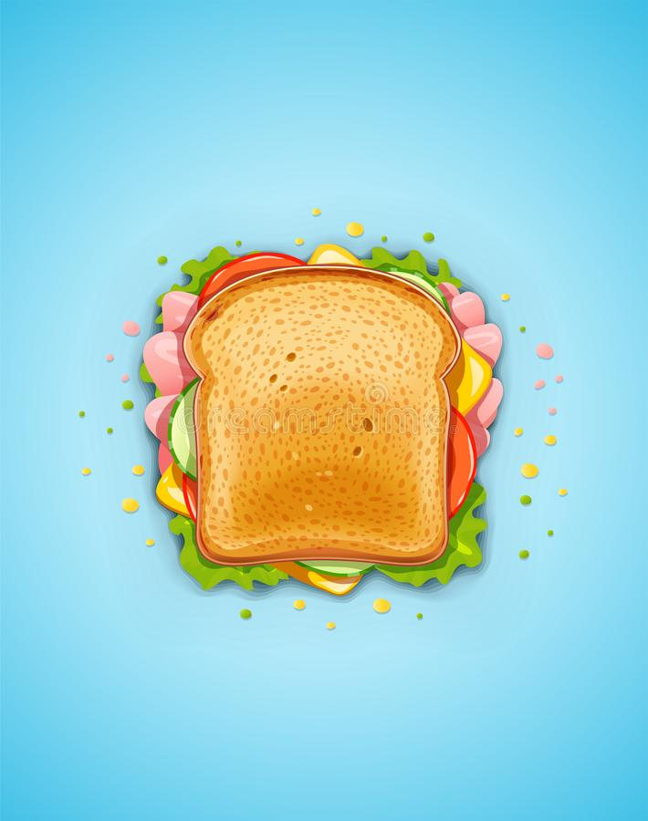 Sandwich Gebraden brood met komkommer, bacon, tomaat, kaas, sla stock illustratie