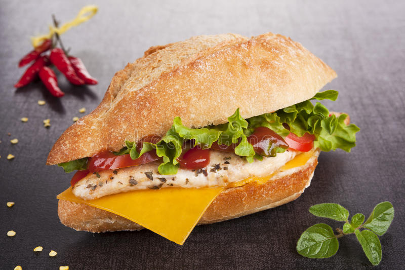 Download Sandwich With Grilled Chicken. Chicken Sandwich. Stock Image - Image: 19532923