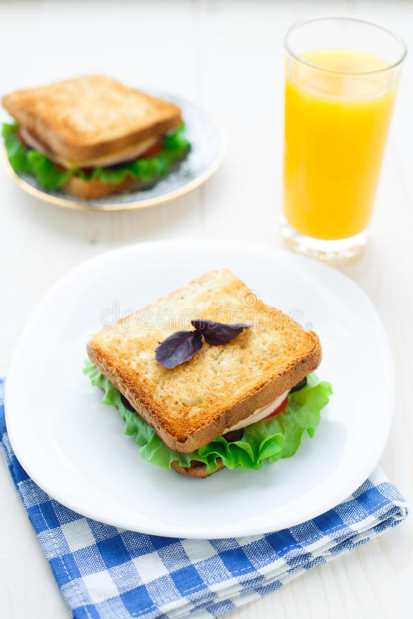 Download Sandwich With Ham, Cheese, Tomatoes And Lettuce Stock Image - Image: 33926431