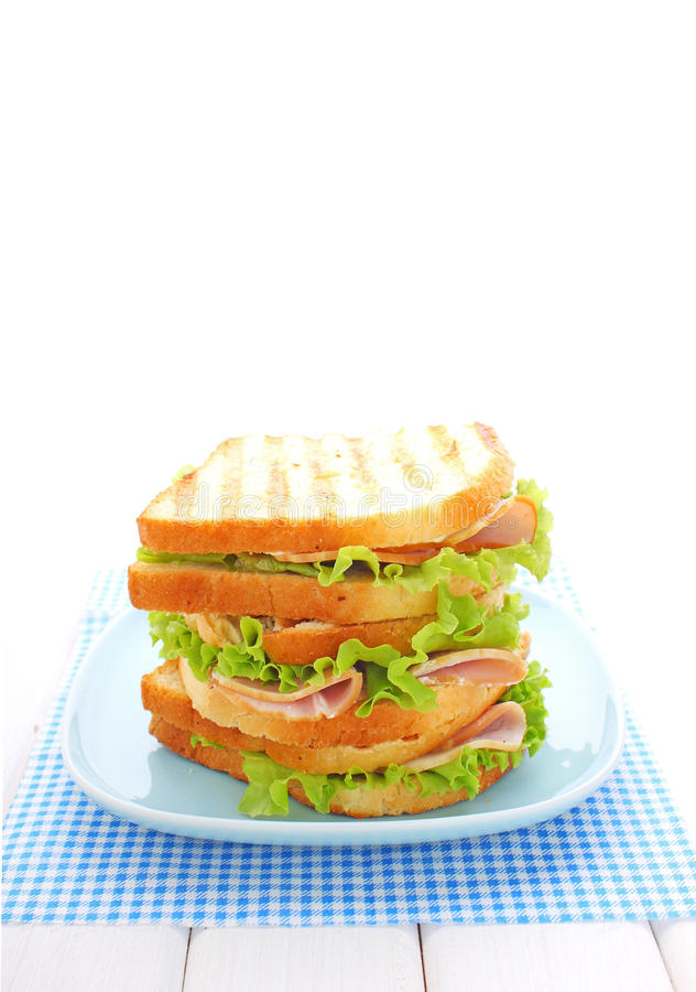 Sandwich with ham, cream cheese. And lettuce royalty free stock photos