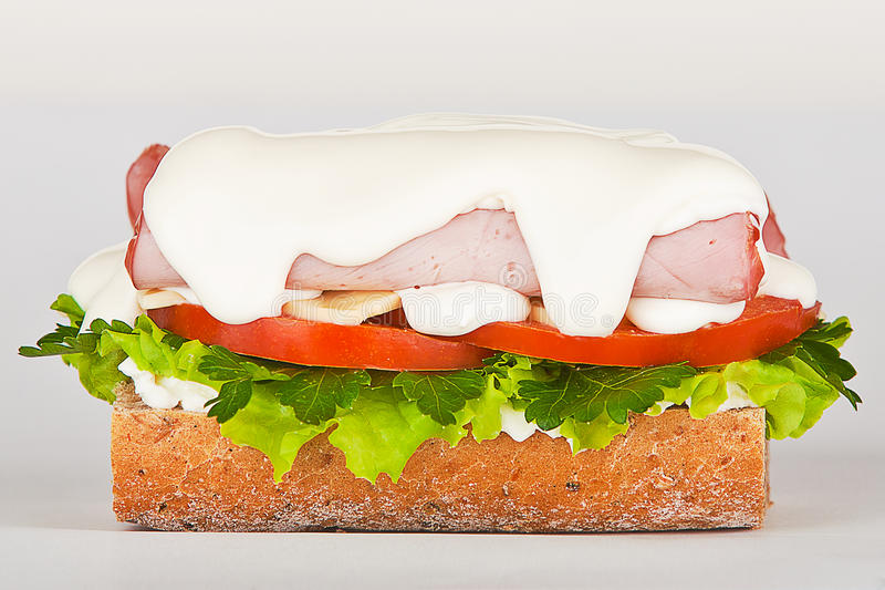 Download Sandwich Of Ham Lettuce And Tomato Royalty Free Stock Photo - Image: 24101935