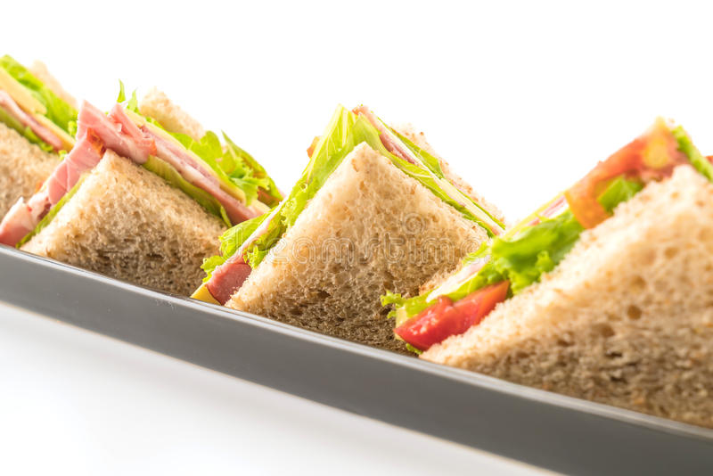 Sandwich ham on white. Background royalty free stock images