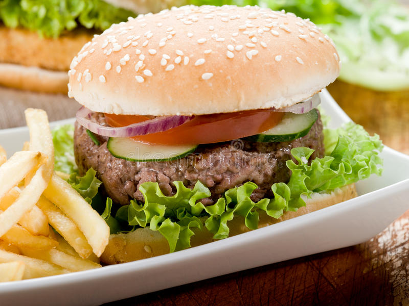 Sandwich with hamburger and fried