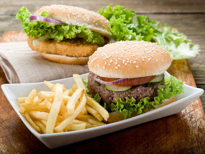 Download Sandwich With Hamburger And Fried Stock Photo - Image: 21407550
