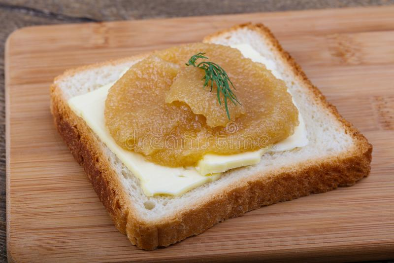 Sandwich with herring roe royalty free stock images
