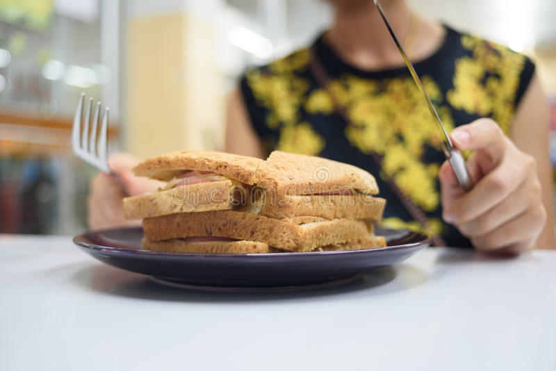 Sandwich and hungry stock image