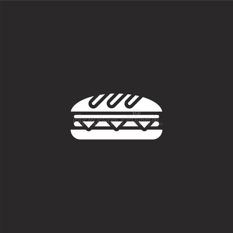 sandwich icon. Filled sandwich icon for website design and mobile, app development. sandwich icon from filled picnic collection royalty free illustration