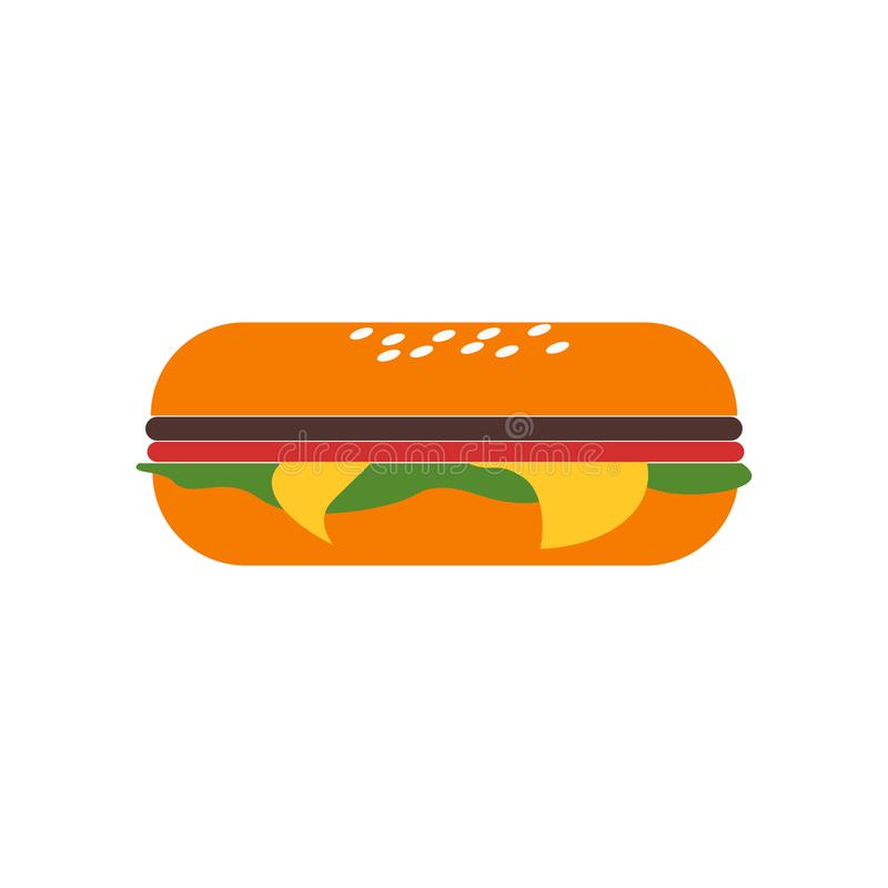 Sandwich icon vector sign and symbol isolated on white background, Sandwich logo concept stock illustration