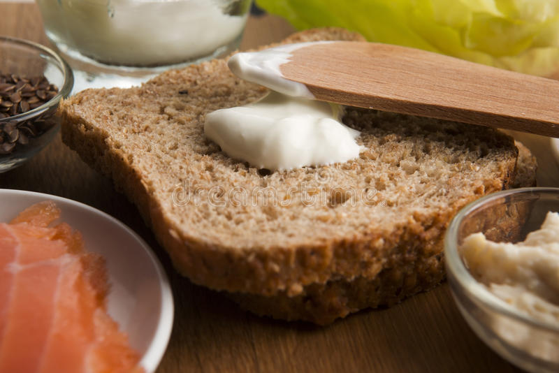 Sandwich with ingredients stock image