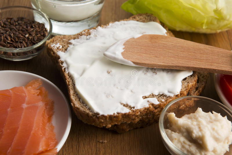 Sandwich with ingredients stock photography