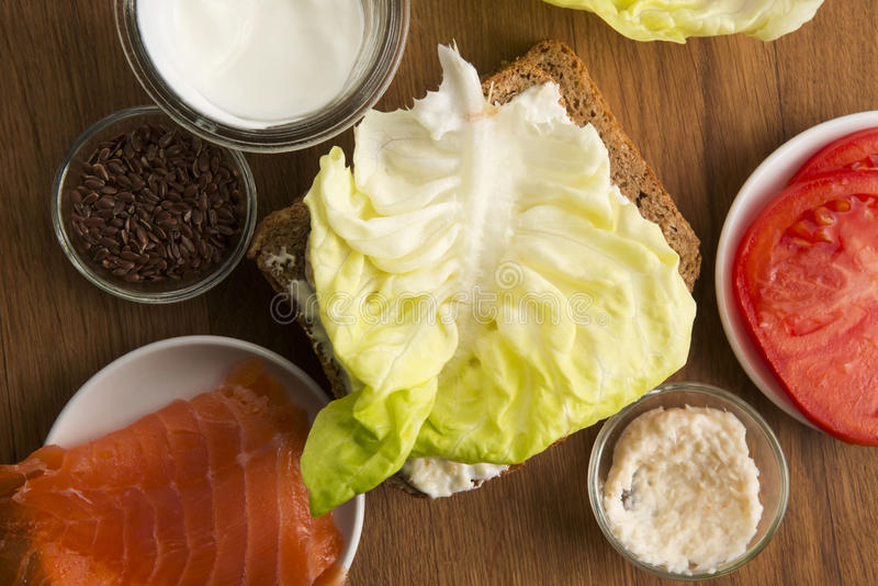 Sandwich with ingredients stock photos