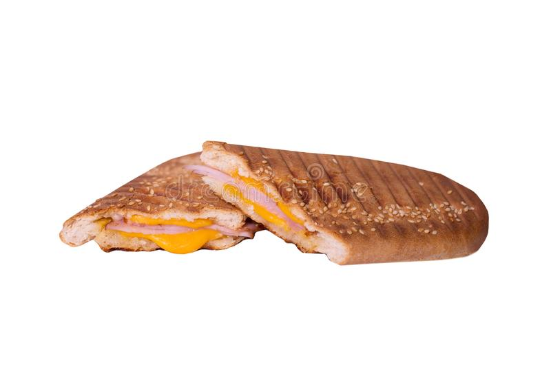 Sandwich isolated on white background. Hot toast with ham and cheese. Food Image for menu card, web design, site, shop stock photo