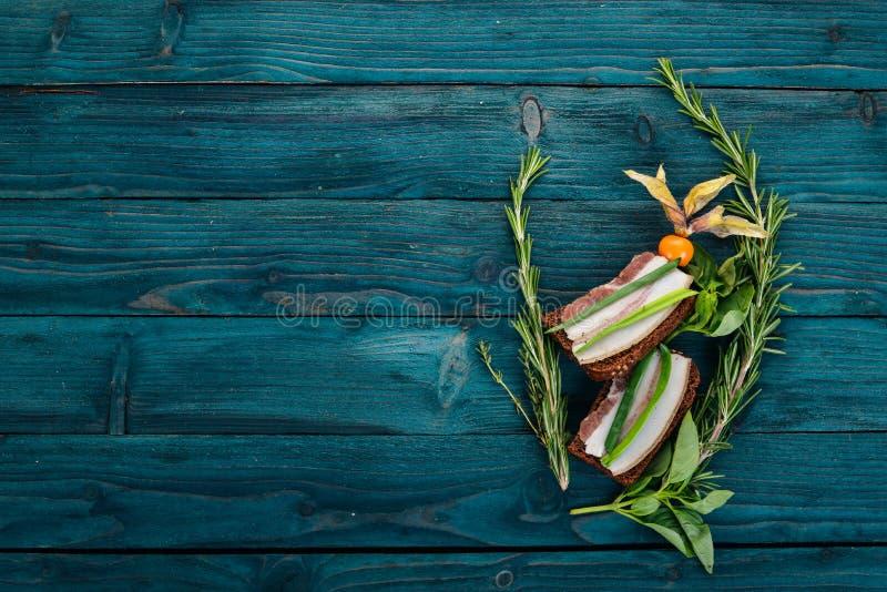 Sandwich with lard and onions. Ukrainian cuisine. stock photo