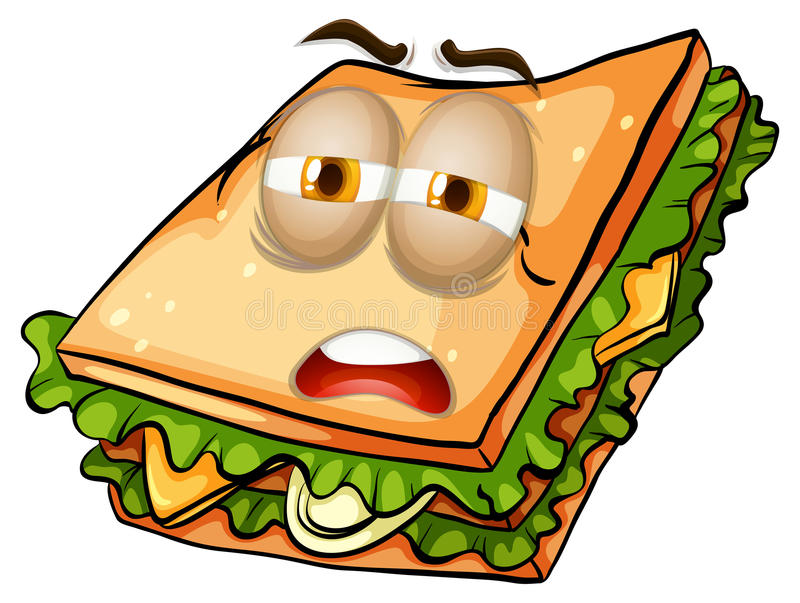 Sandwich with lazy face. Illustration royalty free illustration