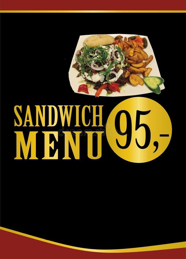 Sandwich-Menü Sandwich mit Fleisch, Salat, rucola und dem Kleiden lizenzfreies stockfoto