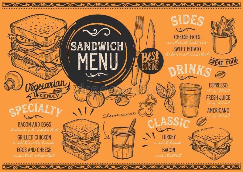 Sandwich menu restaurant, food template. Sandwich restaurant menu. Vector food flyer for bar and cafe. Design template with vintage hand-drawn illustrations royalty free illustration