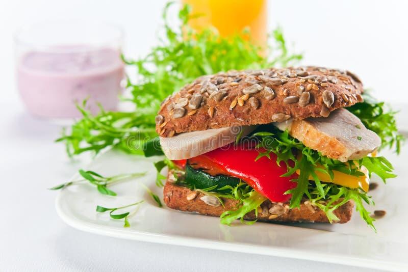 Sandwich met geroosterd groenten en kippenfilethaakwerk royalty-vrije stock afbeeldingen