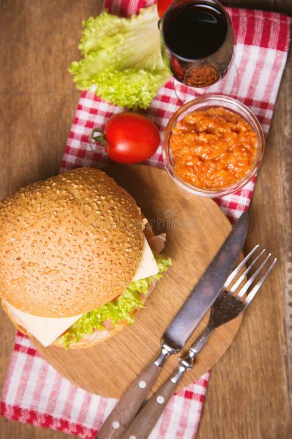 Sandwich met ham royalty-vrije stock afbeelding