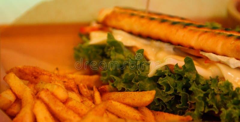 Sandwich met ham en Frieten stock afbeeldingen