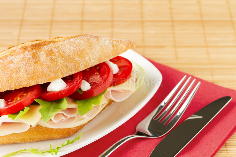 Sandwich met ham en kaas royalty-vrije stock foto