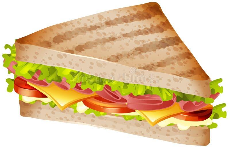 Sandwich met ham en kaas stock illustratie